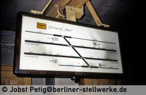 Die Gleisbesetzungstafel von Abm fast im Originalzustand 3. März 1990 . Foto Jobst Petig